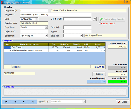 CARAT GSTA Flex - Display Debtors' Invoices